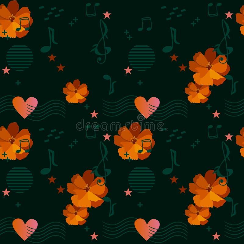 Modèle floral écervelé avec les fleurs oranges de cosmos, les règles musicales passant par le coeur, les notes de musique et les  illustration libre de droits