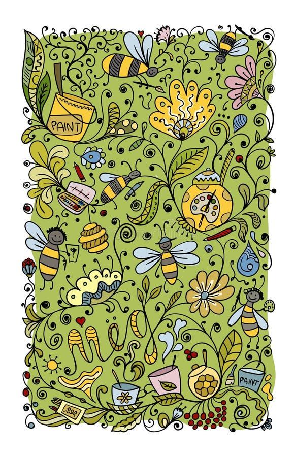 Modèle floral abstrait avec des abeilles, croquis pour votre conception illustration libre de droits