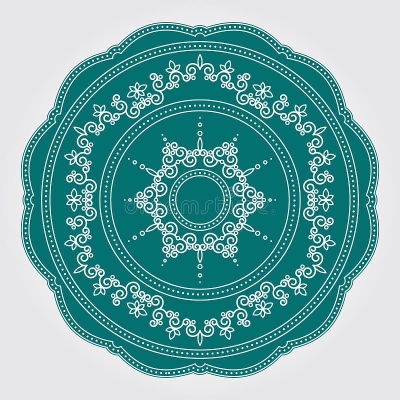 Modèle floral abstrait de dentelle avec des remous Dirigez le plat décoratif en céramique ou de porcelaine avec l'ornement rond d illustration libre de droits