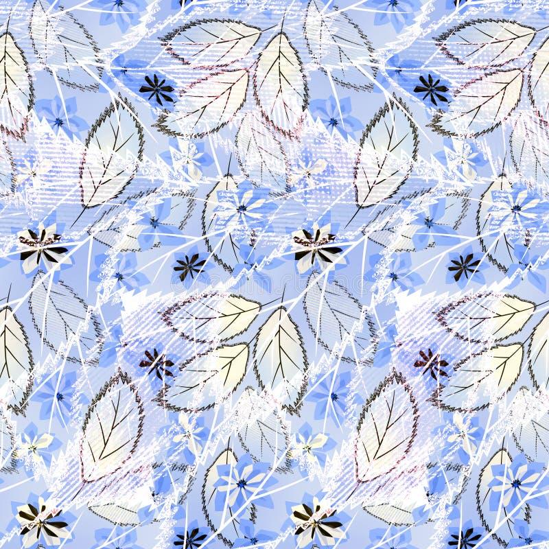 Modèle floral abstrait sans couture sur le fond bleu-clair illustration libre de droits