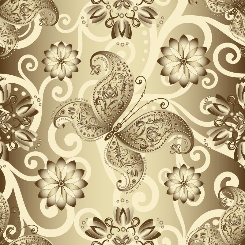 Modèle floral argenté sans couture illustration stock