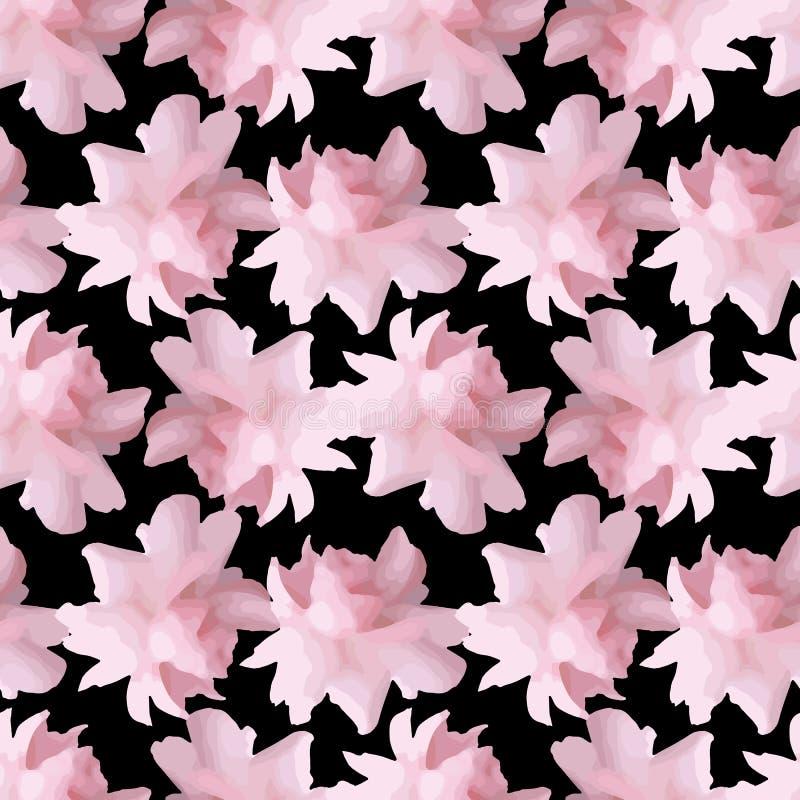 Modèle floral avec des fleurs de pivoine ou de roses illustration de vecteur