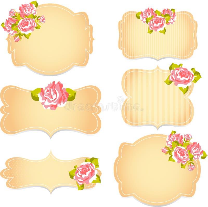 Modèle floral avec des roses sur le fond rose et bleu illustration de vecteur