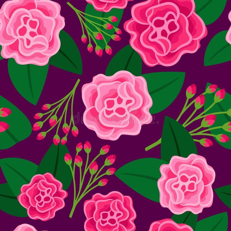 Modèle floral avec la grande fleur rose illustration de vecteur