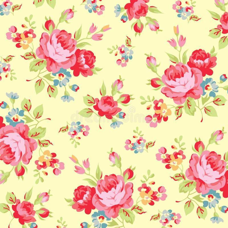 Modèle floral avec la rose de rose illustration de vecteur