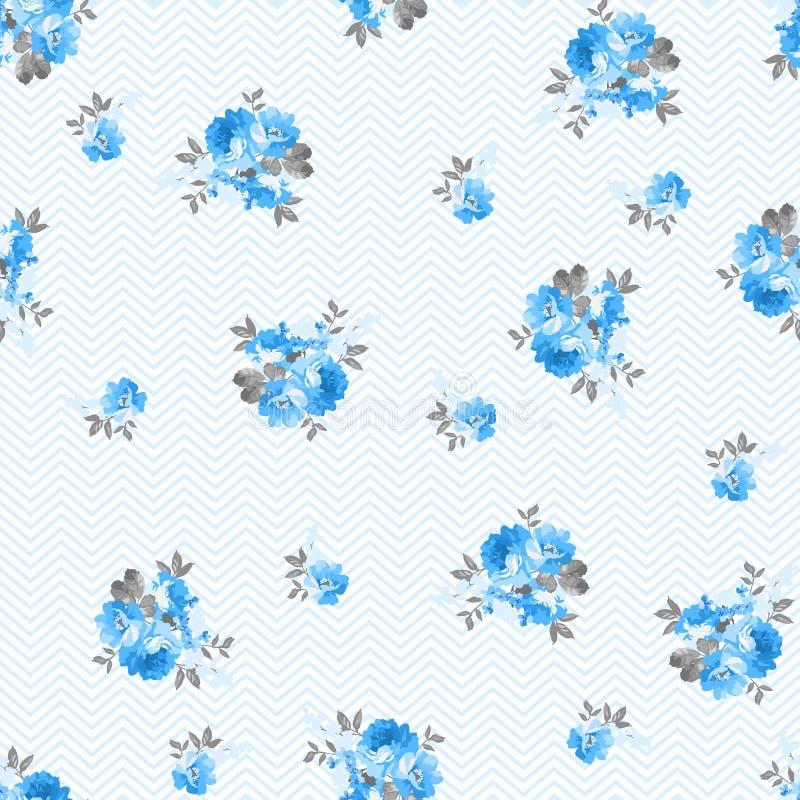 Modèle floral avec les roses bleues illustration stock