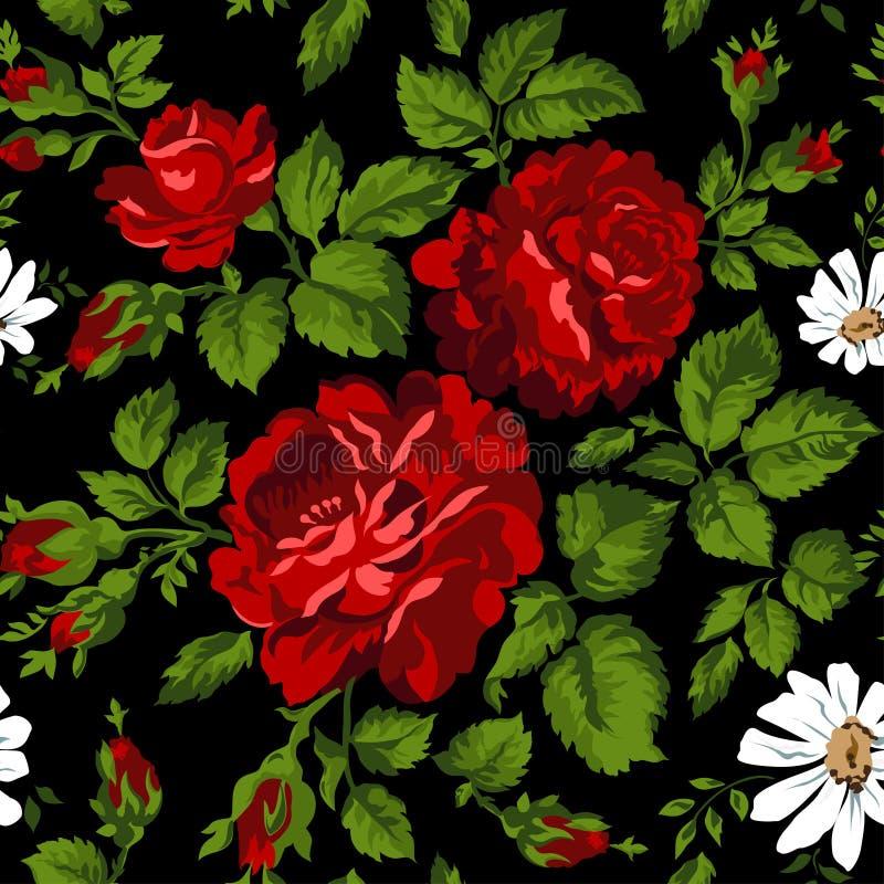 Modèle floral avec les roses rouges Fond floral de vecteur Facile à éditer Perfectionnez pour des invitations ou des annonces illustration libre de droits