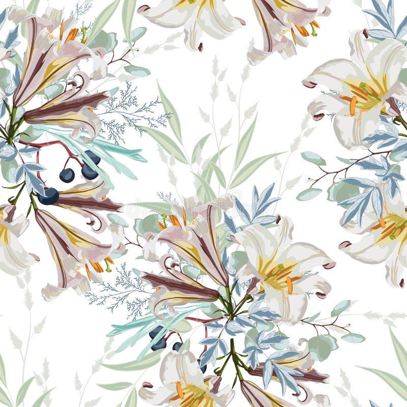 Modèle floral blanc à la mode avec les nombreux genre de fleurs les motifs botaniques ont dispersé aléatoire illustration de vecteur