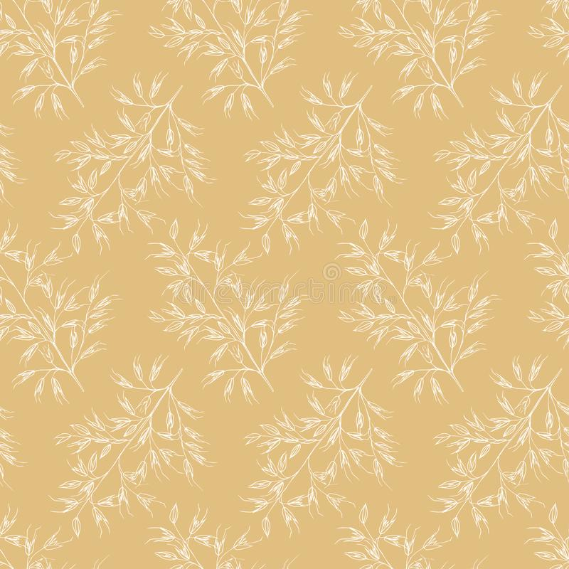 Modèle floral blanc de cru de lineart sans couture d'été illustration libre de droits