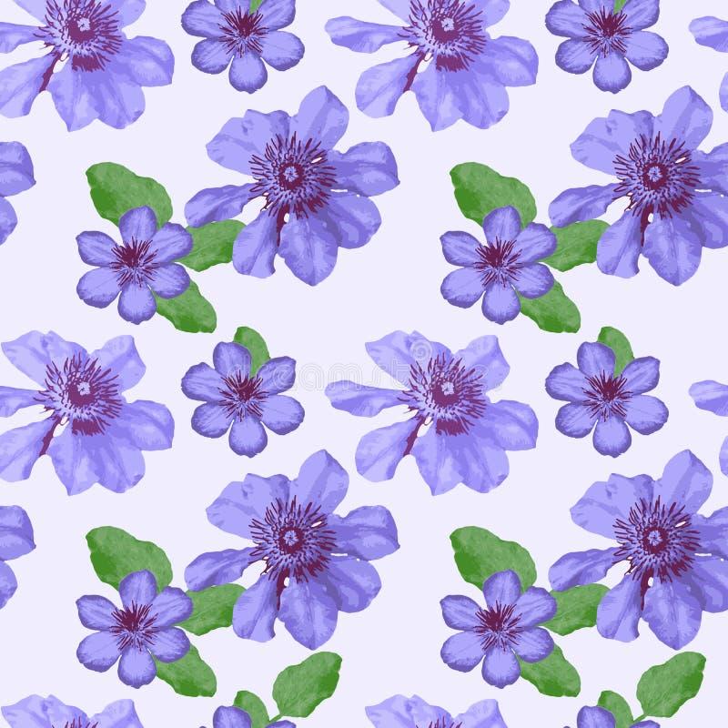Modèle floral bleu sans couture de vecteur illustration stock