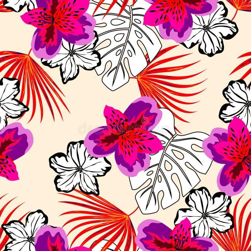 Modèle floral coloré et noir et blanc illustration libre de droits