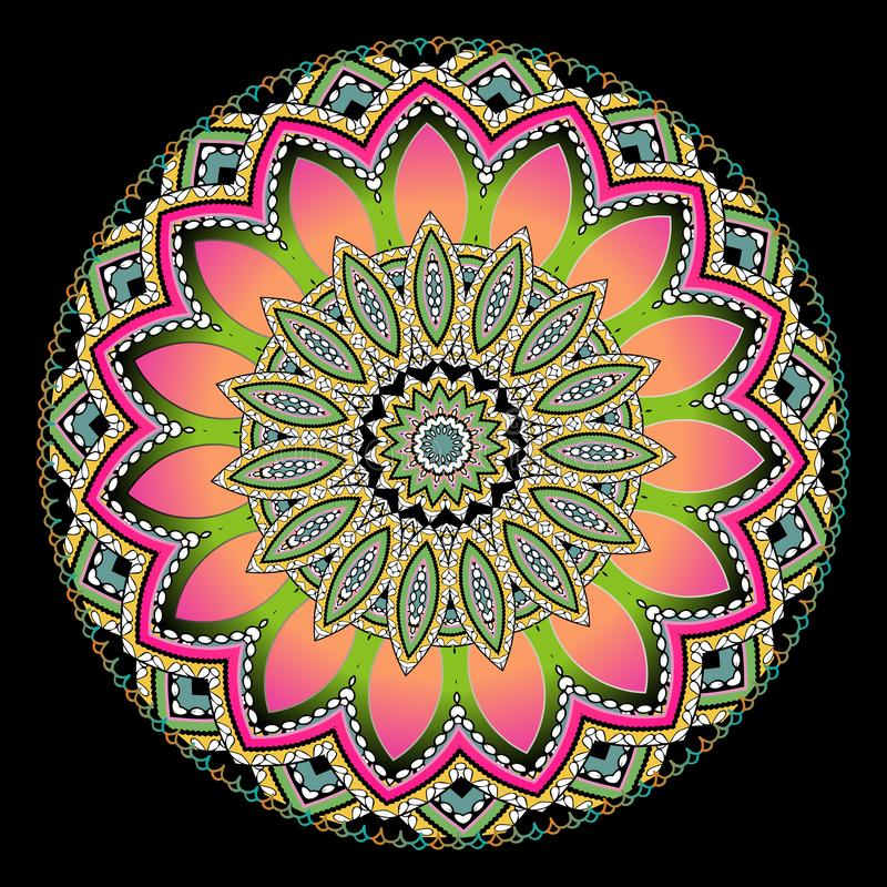 Modèle floral coloré rond de mandala Conception ethnique ornementale de vecteur de style Fleur lumineuse abstraite D?coratif mode illustration libre de droits