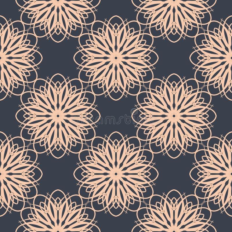 Modèle floral contrastant Fond sans couture avec des fleurs dans des couleurs bleu-foncé et légères de rose en pastel illustration libre de droits