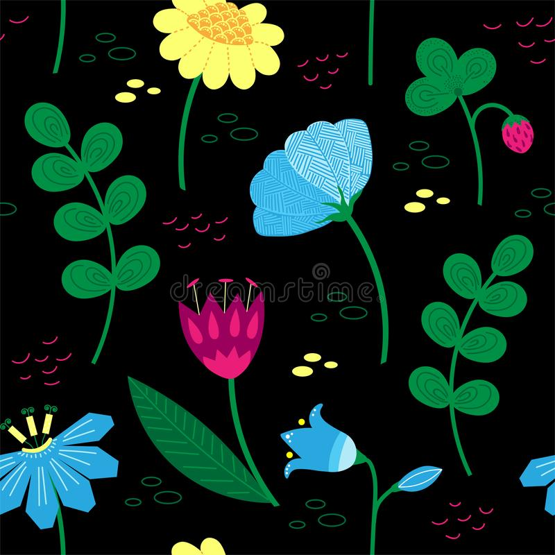 Modèle floral décoratif avec des baies et de belles fleurs Motifs scandinaves Style tiré par la main de griffonnage illustration libre de droits