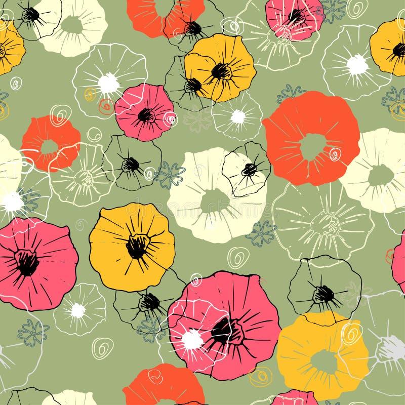 Modèle floral décoratif fleuri sans couture Copie lumineuse pour votre conception illustration libre de droits