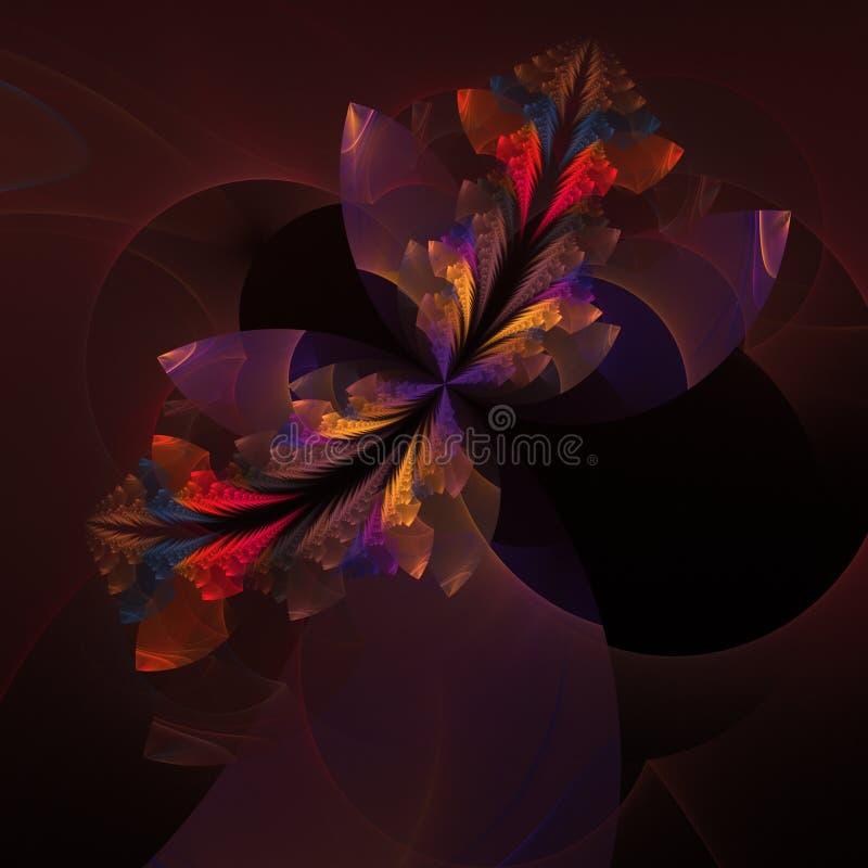 Modèle floral décoratif pourpre rouge de fractale illustration de vecteur