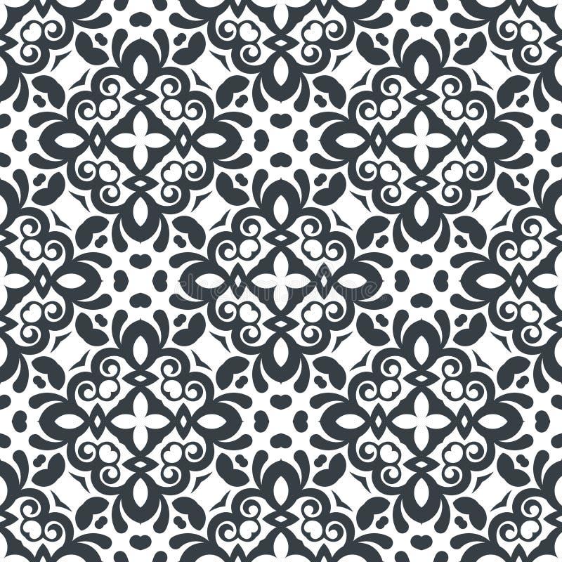 Modèle floral décoratif sans couture de vecteur Couleur noire et blanche illustration de vecteur