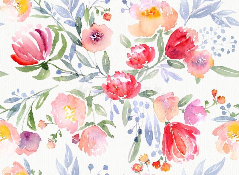 Modèle floral d'aquarelle illustration stock