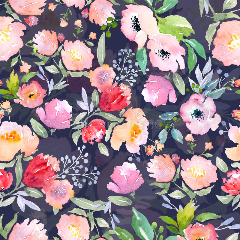 Modèle floral d'aquarelle illustration stock