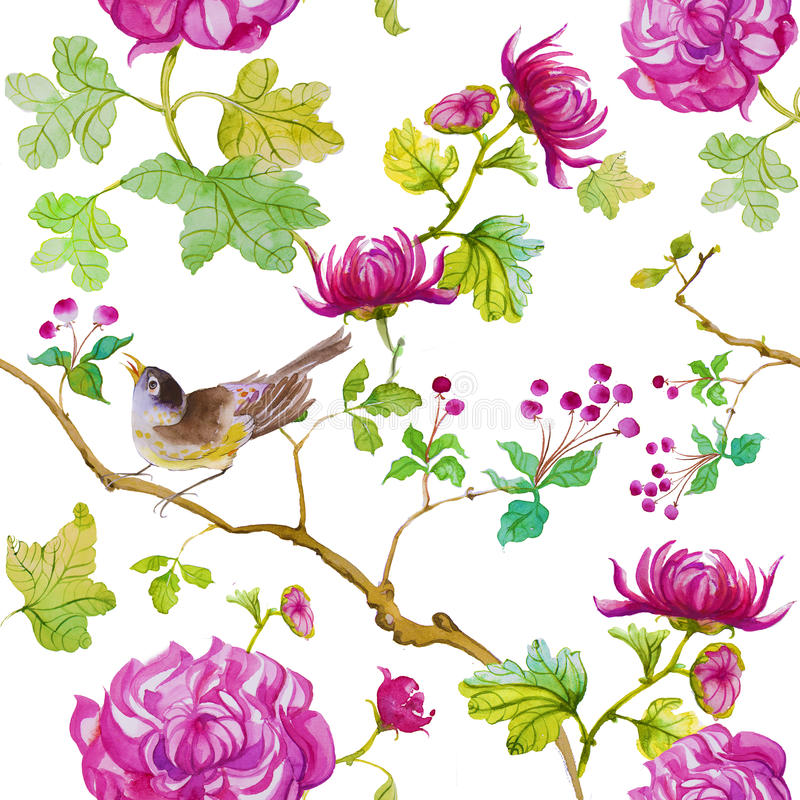 Modèle floral d'aquarelle illustration de vecteur