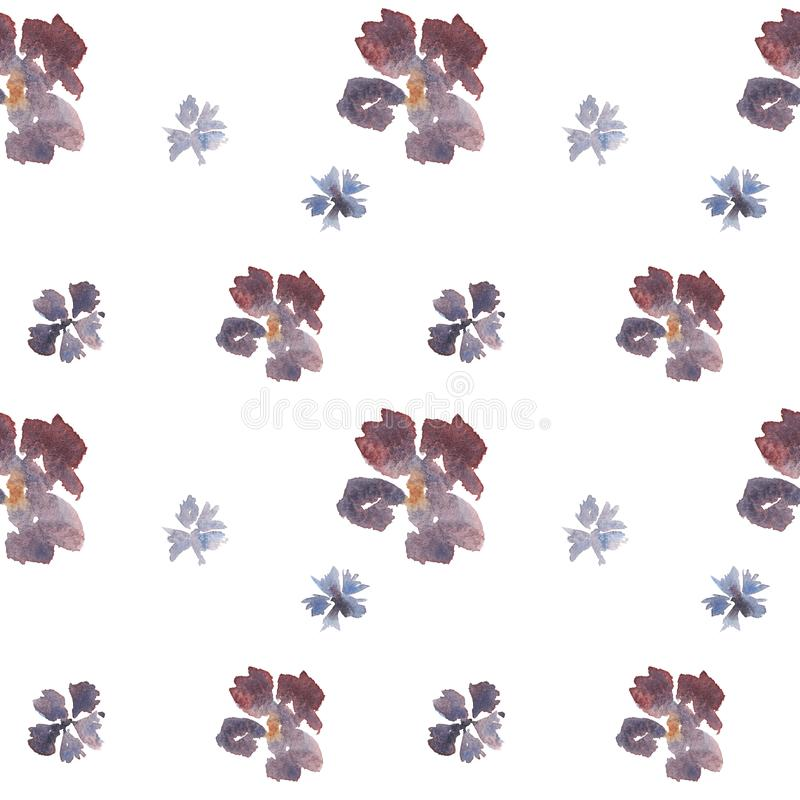 Modèle floral d'aquarelle lâche tirée par la main sans couture avec les fleurs bleues et pourpres illustration libre de droits