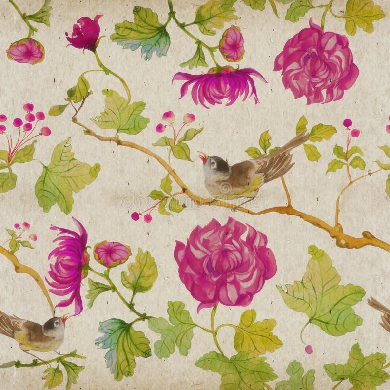 Modèle floral d'aquarelle, oiseaux avec des fleurs illustration libre de droits