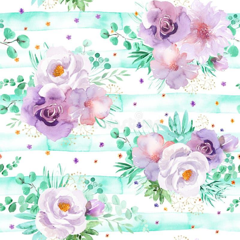 Modèle floral d'aquarelle sans couture dans des couleurs violettes vertes et mauve-clair en bon état photos libres de droits