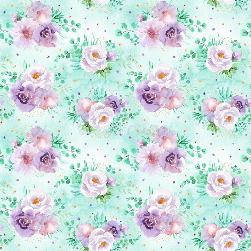 Modèle floral d'aquarelle sans couture dans des couleurs violettes vertes et mauve-clair en bon état sur le fond vert clair photographie stock libre de droits