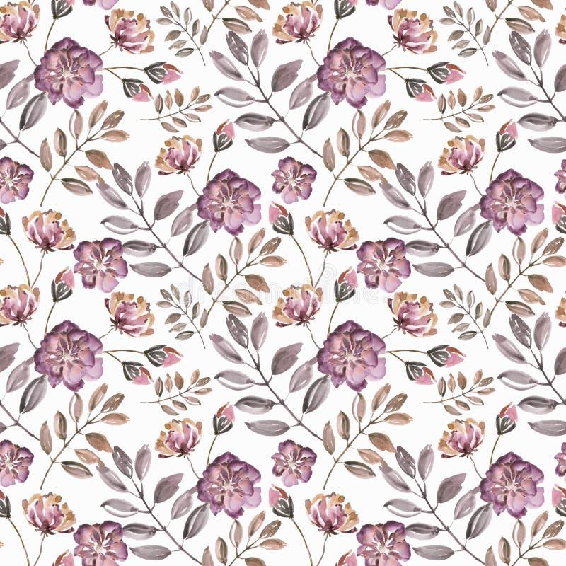 Modèle floral d'aquarelle sans couture Rose foncé, fleurs oranges sur le fond blanc illustration libre de droits