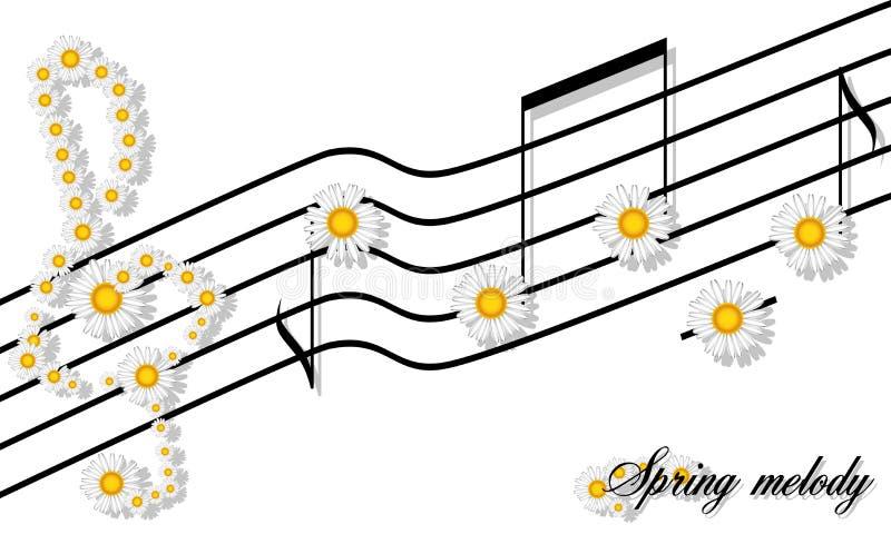 Modèle floral d'impression de mélodie de ressort des notes de camomiles sur une barre et la clef triple d'isolement sur le blanc image libre de droits