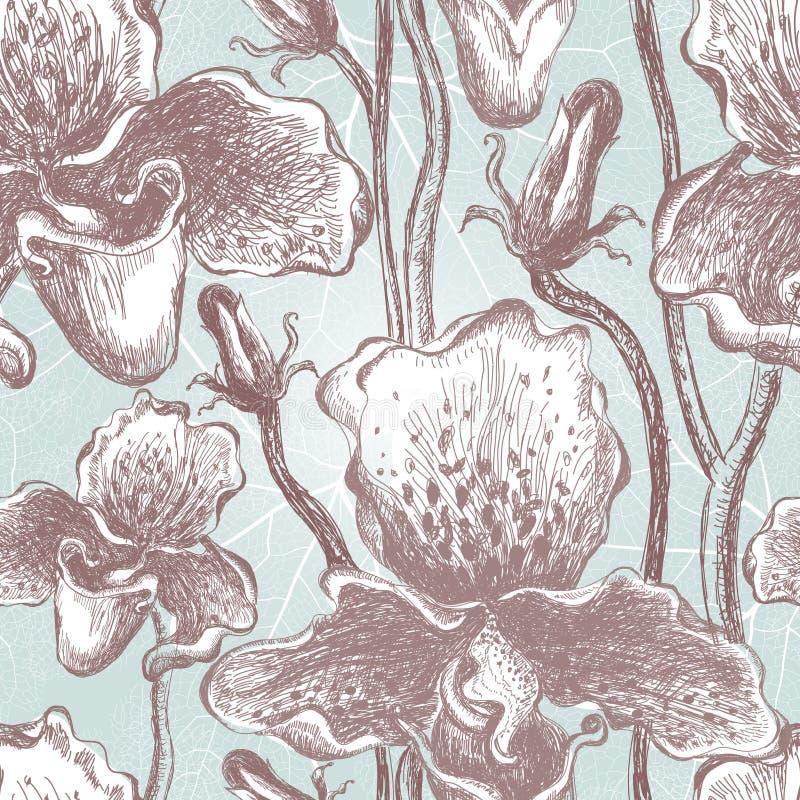 Modèle floral d'orchidée sans couture. Vecteur, EPS10 illustration de vecteur