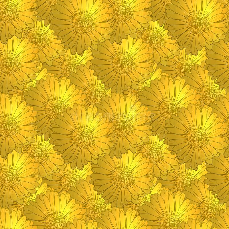 Modèle floral d'or sans couture de vecteur, fleurs de cru illustration stock