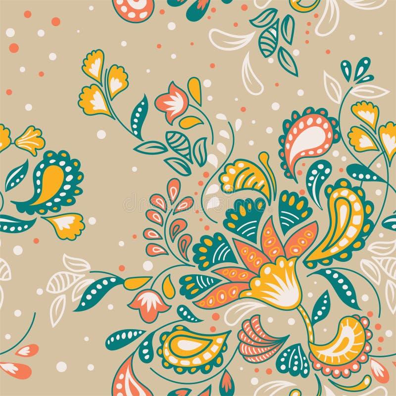 Modèle floral de batik tiré par la main de vecteur illustration stock