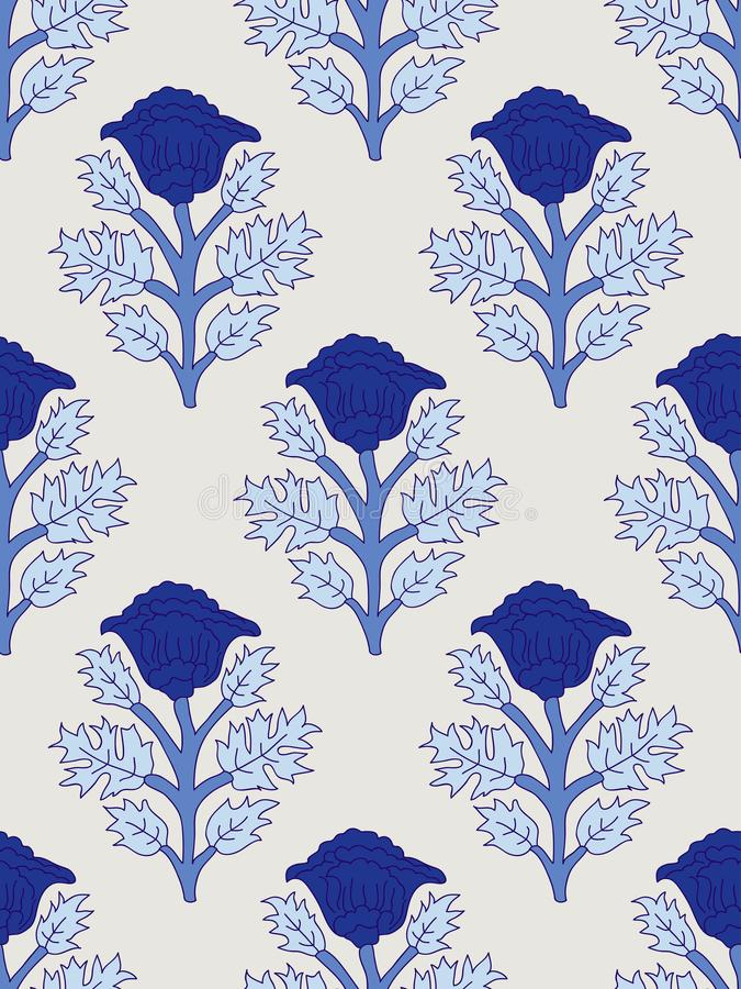 Modèle floral de blockprint illustration libre de droits