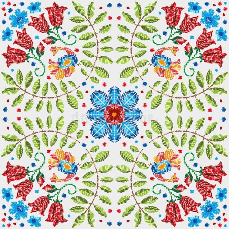 Modèle floral de broderie, ornement décoratif pour le textile, oreiller ou décor de bandana Fond fait main de Bohème de style illustration de vecteur