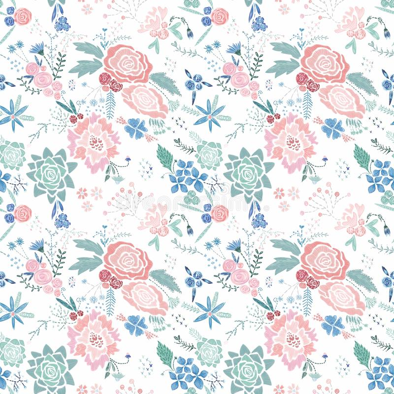 Modèle floral de broderie de vecteur illustration de vecteur