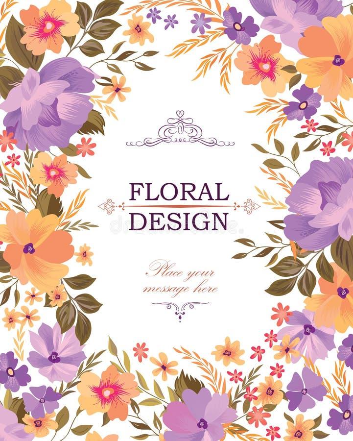 Modèle floral de cadre Fond de bouquet de fleur Carte de voeux d illustration de vecteur