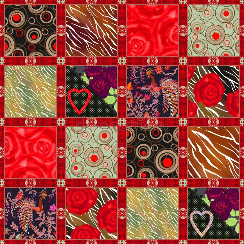Modèle floral de conception sans couture de patchwork avec les éléments lumineux illustration stock