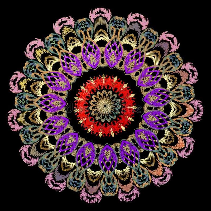 Modèle floral de cru de broderie colorée Mandala rond de tapisserie de vecteur Ornement baroque brod? Grunge ornemental de luxe illustration stock