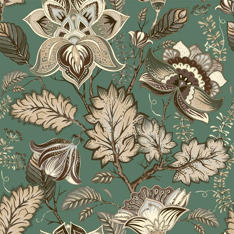 Modèle floral de cru de vecteur, style de la Provence Grandes fleurs stylisées sur un fond vert Conception pour le Web, textile illustration stock