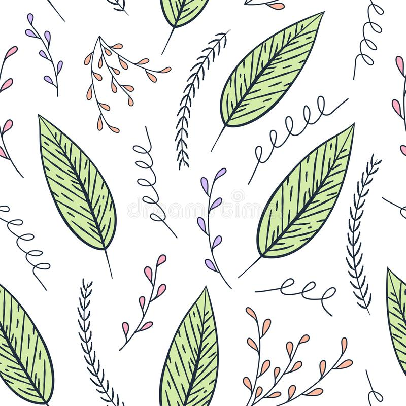 Modèle floral de découpe sans couture de vecteur Texture florale colorée tirée par la main, feuilles décoratives illustration stock