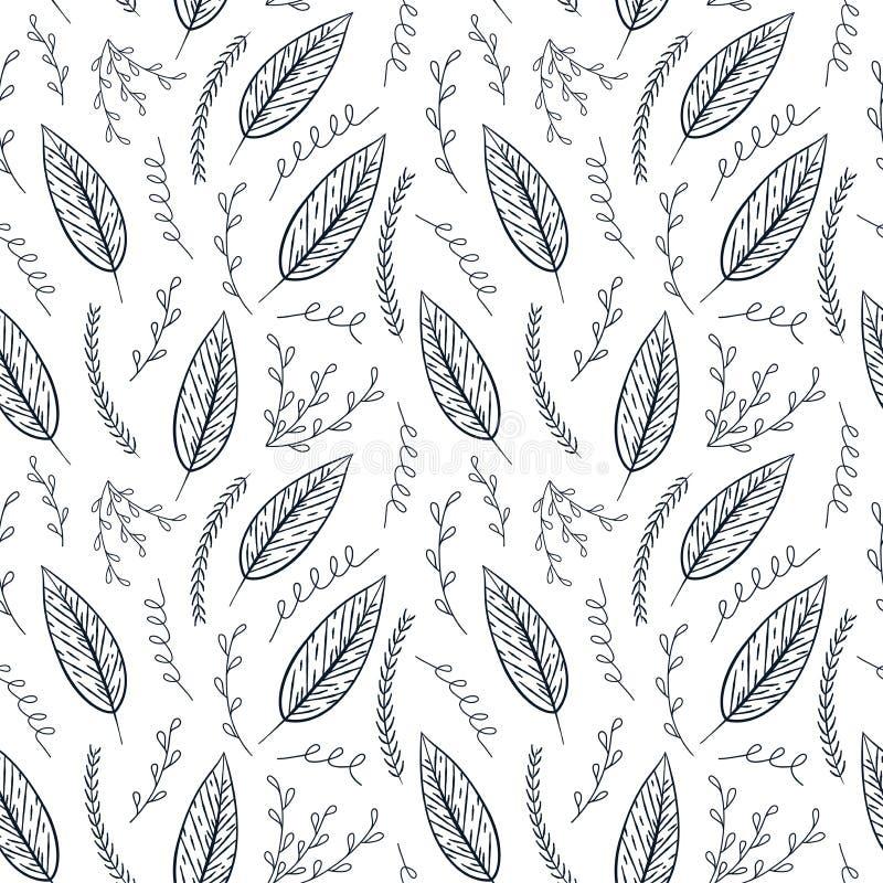 Modèle floral de découpe sans couture de vecteur Texture florale monochrome tirée par la main, feuilles décoratives, livre de col illustration de vecteur