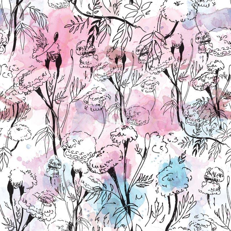 Modèle floral de découpe sur le fond abstrait d'aquarelle illustration libre de droits