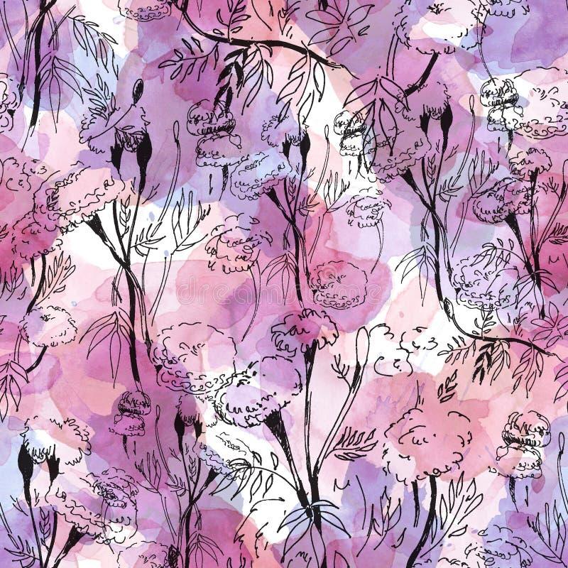 Modèle floral de découpe sur le fond abstrait d'aquarelle illustration de vecteur