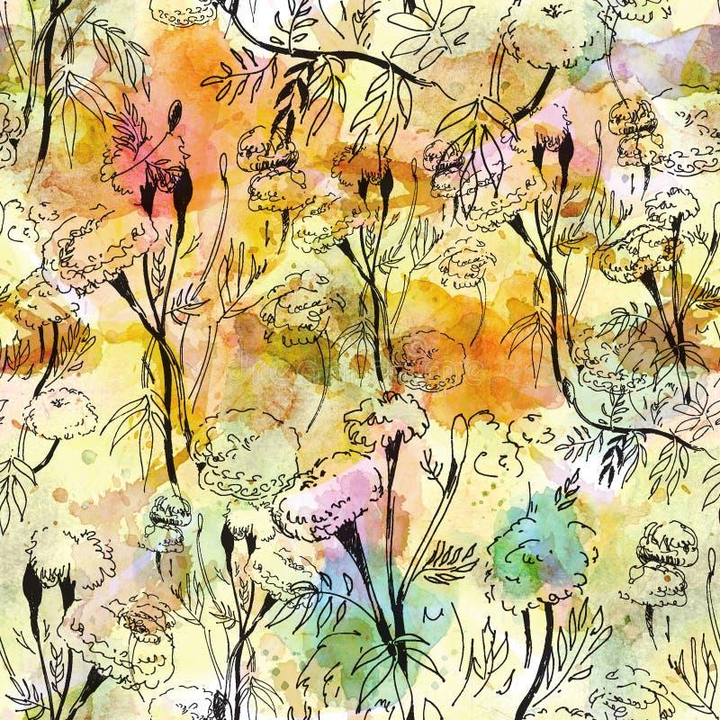 Modèle floral de découpe sur le fond abstrait d'aquarelle illustration stock