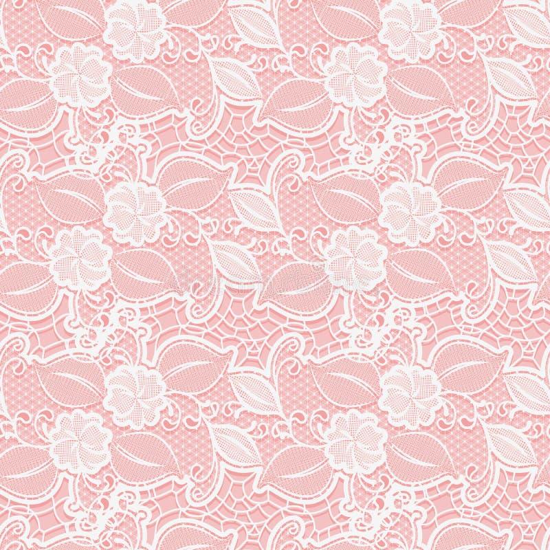 Modèle floral de dentelle sans couture blanche sur le fond rose illustration de vecteur