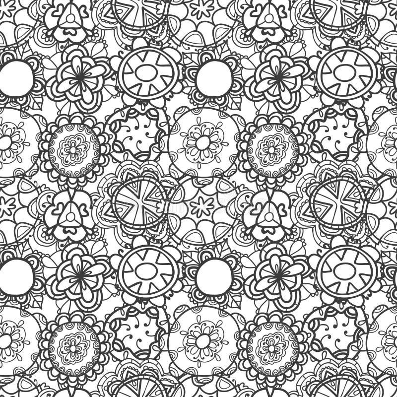Modèle floral de dentelle sans couture sur le fond blanc illustration stock