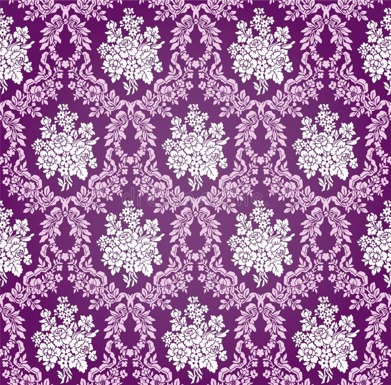 Modèle floral de fond de damassé de vecteur illustration de vecteur