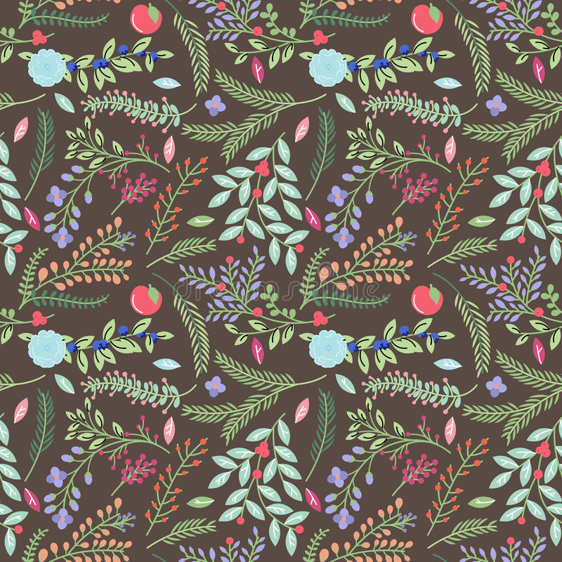 Modèle floral de fond de vintage sans couture de Tileable illustration de vecteur