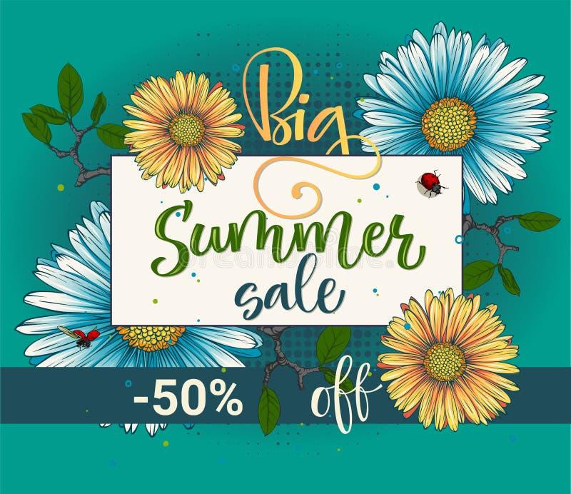 Modèle floral de grande d'été de vente de vecteur calligraphie de couleur illustration libre de droits